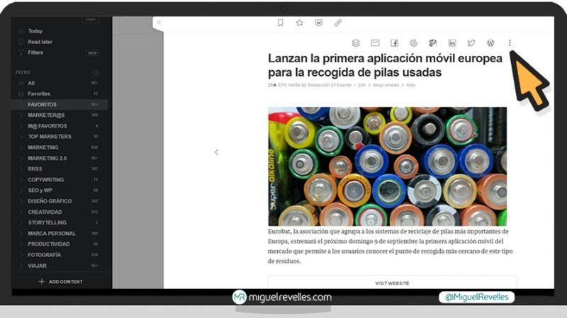 Manual Feedly Avanzado, compartir post