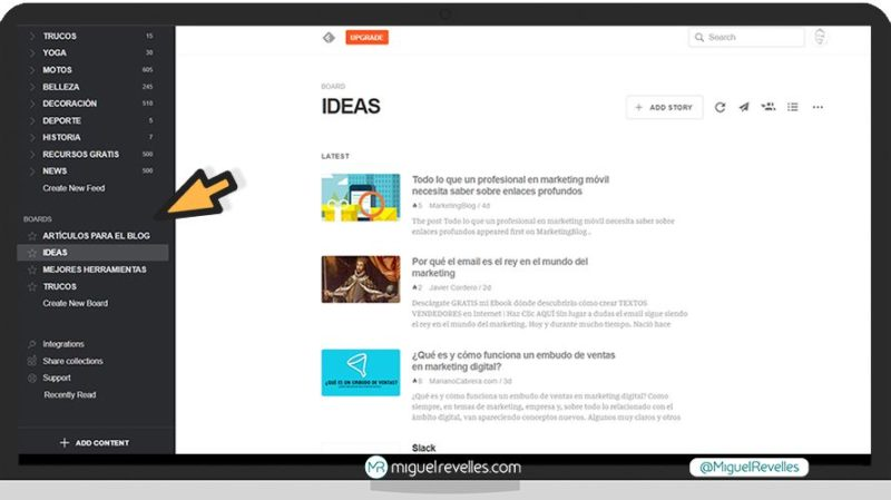 Manual Feedly, cómo crear tableros