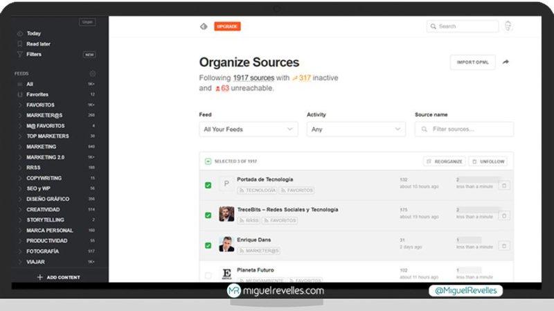 Manual Feedly Avanzado, organizar categorías y ver inactivas