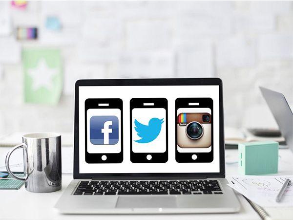 Imagen parte de la Guía Feedly, con un ordenador en el que se ven dispositivos móviles con los logos de Facebook, Twitter e Instagram