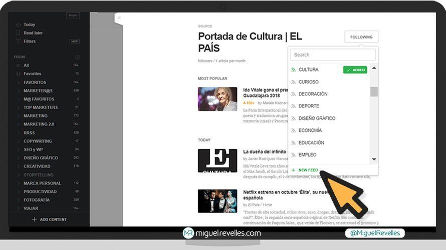 Captura de pantalla sobre cómo crear categorías en Feedly
