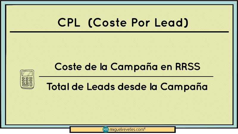 KPI en las Redes Sociales Fórmula CPL Coste Por Lead - Miguel Revelles ©