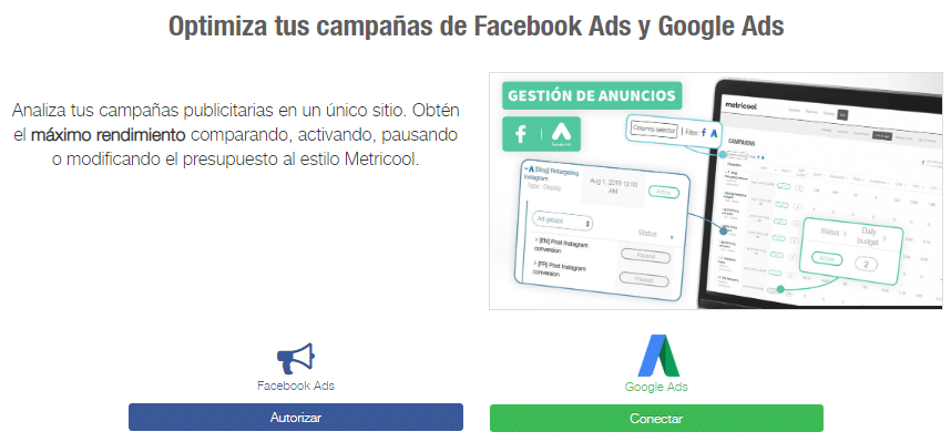 Metricool Facebook Ads Google Ads